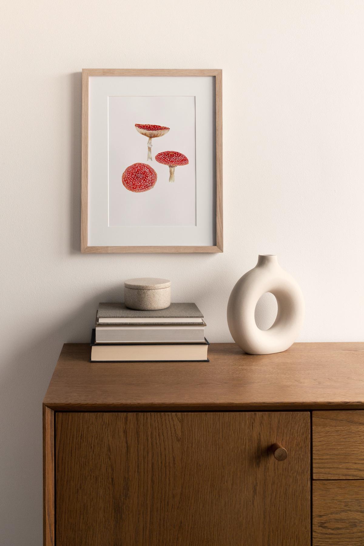 3 Fliegenpilze Poster Kunstdruck Pflanzen Zeichnung