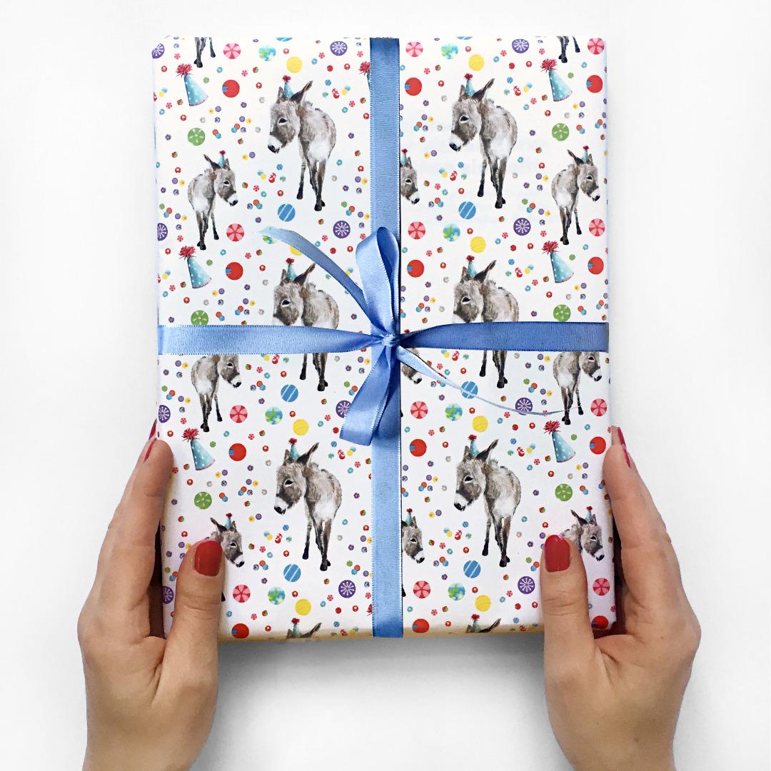 10 Bögen Geschenkpapier Partyesel