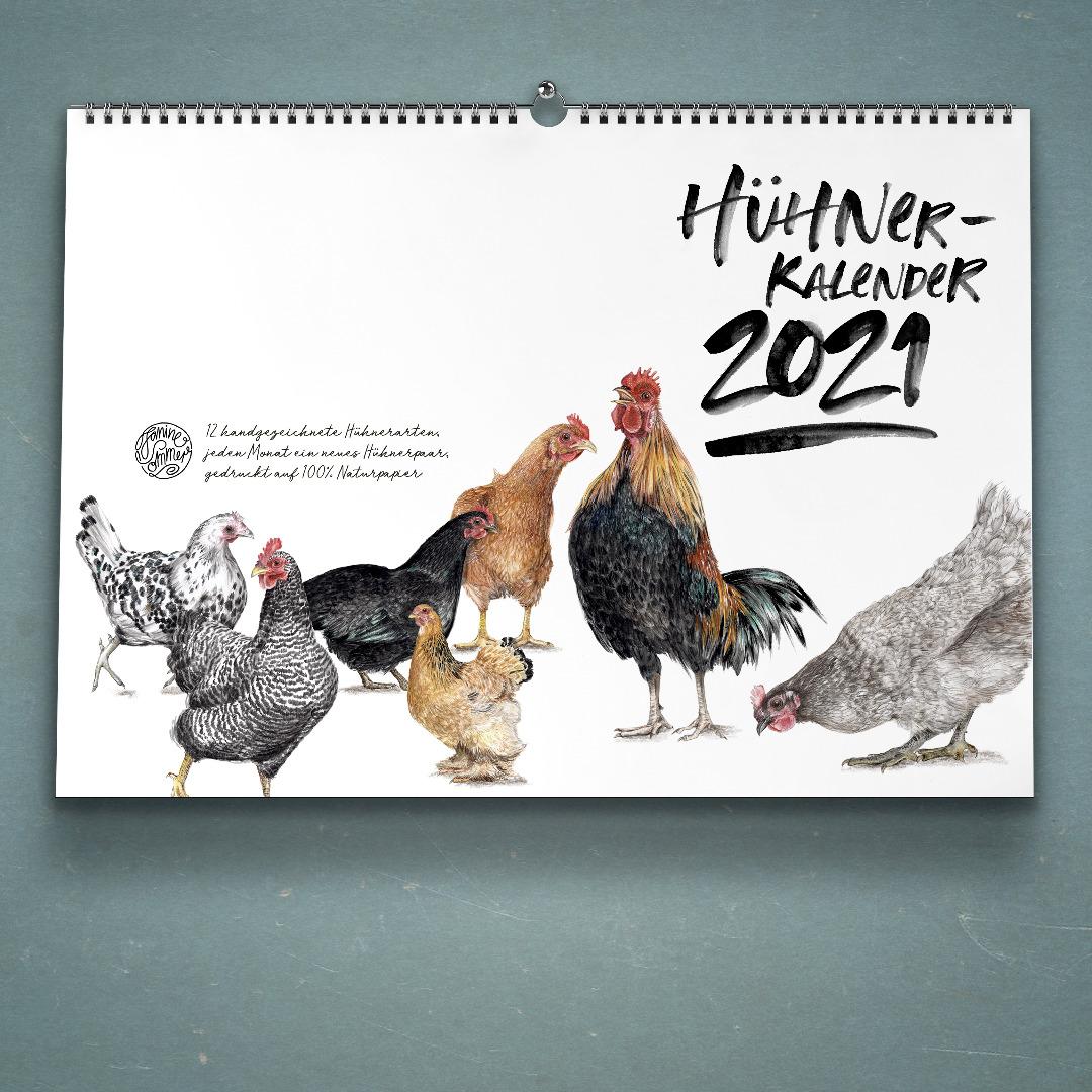 Hühnerkalender 2021 Wandkalender Kunstkalender DIN A4