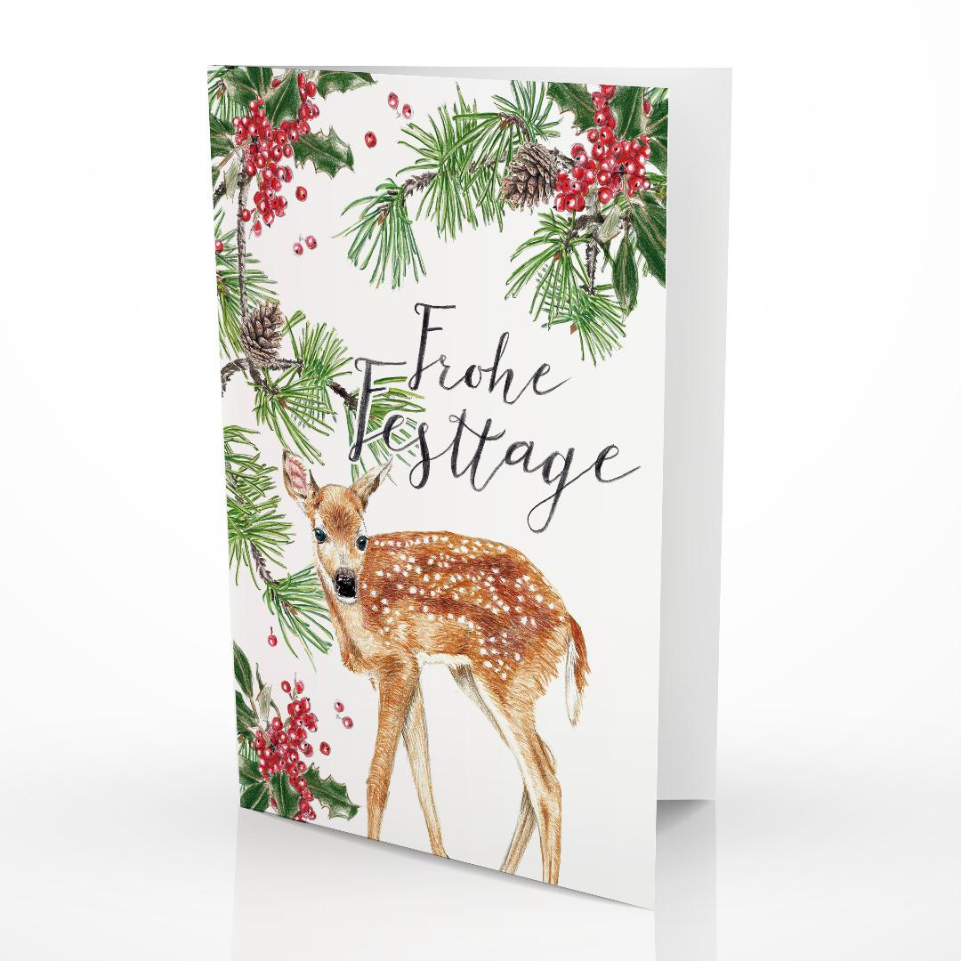 Weihnachtskarte Reh Grußkarte