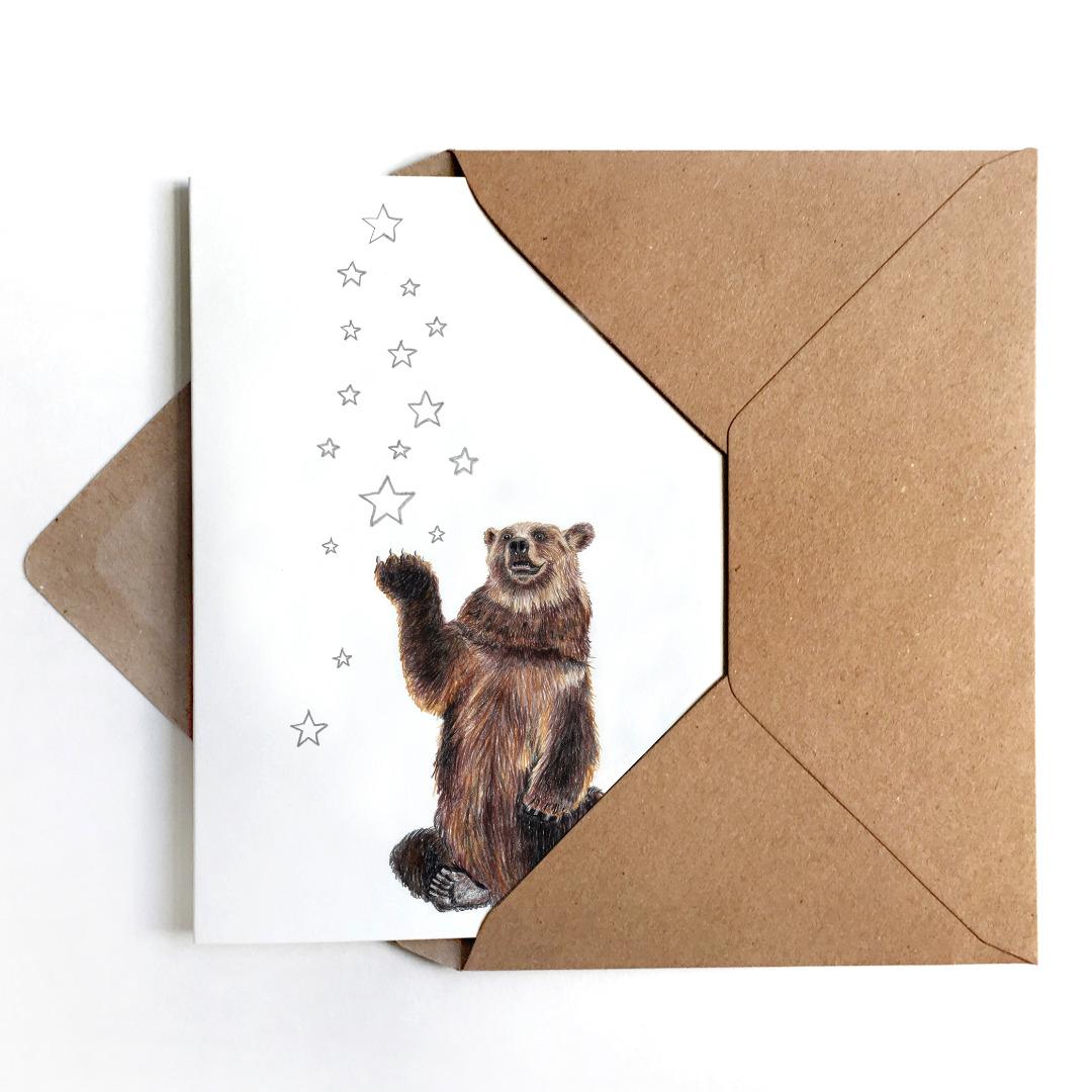 Weihnachtskarte Bär mit Sternen Grußkarte