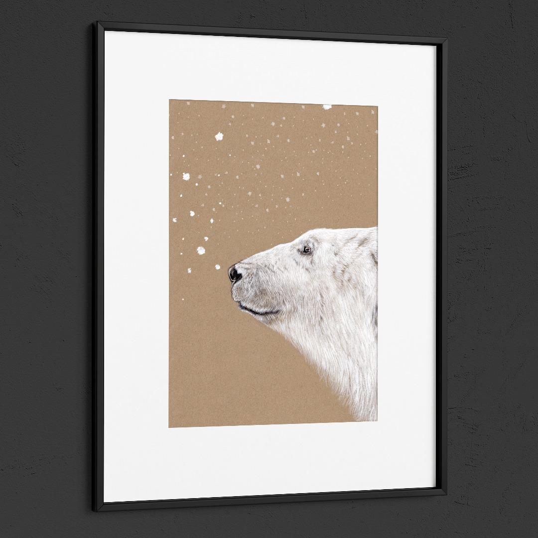 Polarbär Eisbär Poster Kunstdruck Zeichnung 2