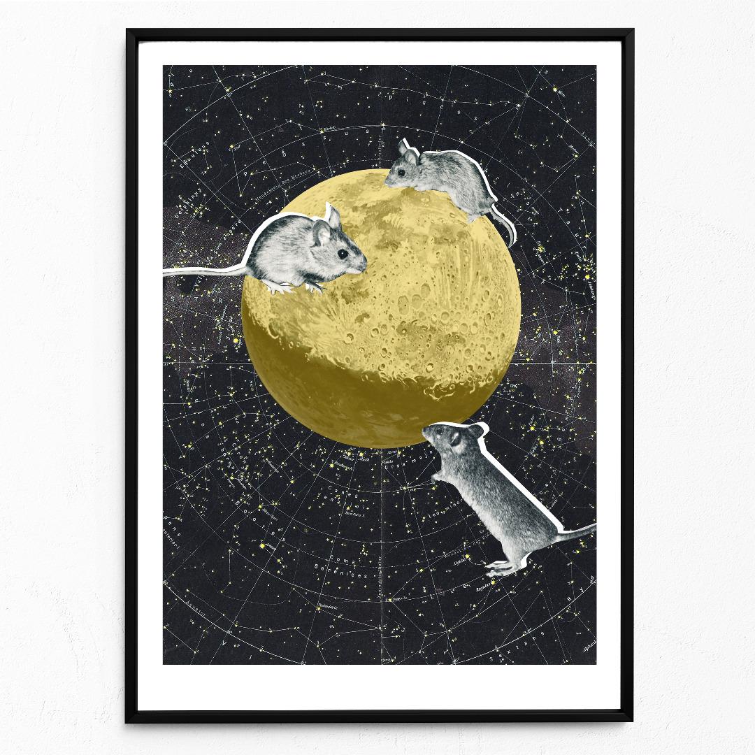 Mäuse auf dem Mond Poster Kunstdruck