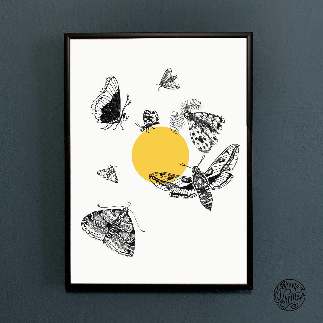 Motten fliegen zum Licht Poster Kunstdruck