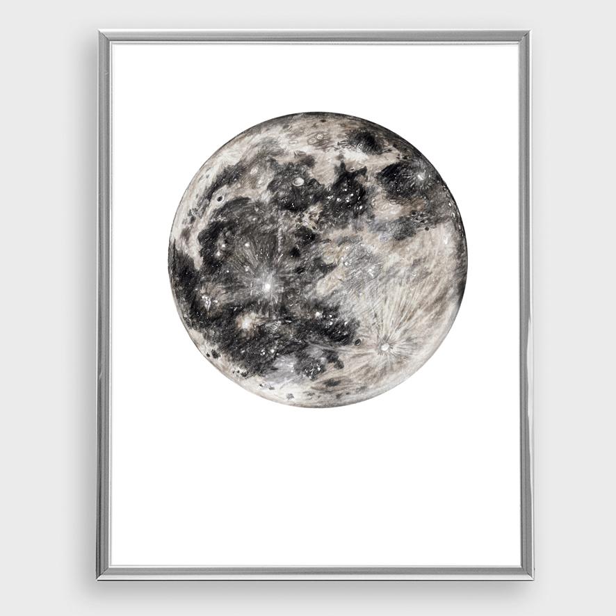 Mond Zeichnung Poster Kunstdruck Zeichnung