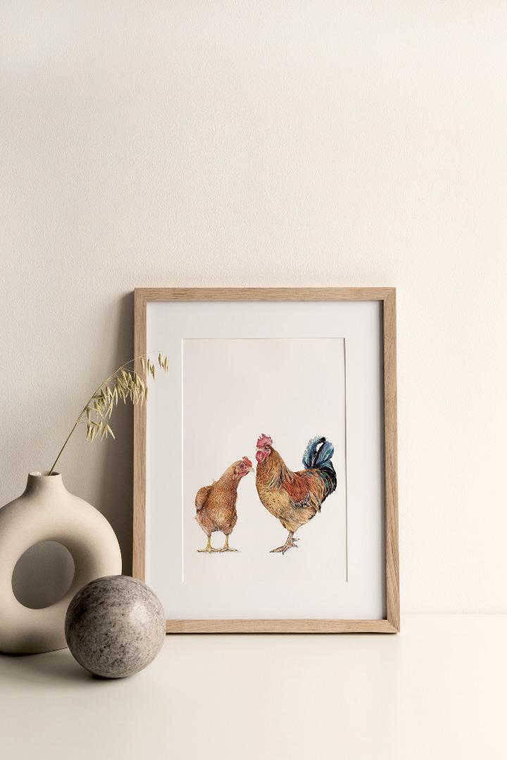 New Hampshire Huhn und Hahn Poster