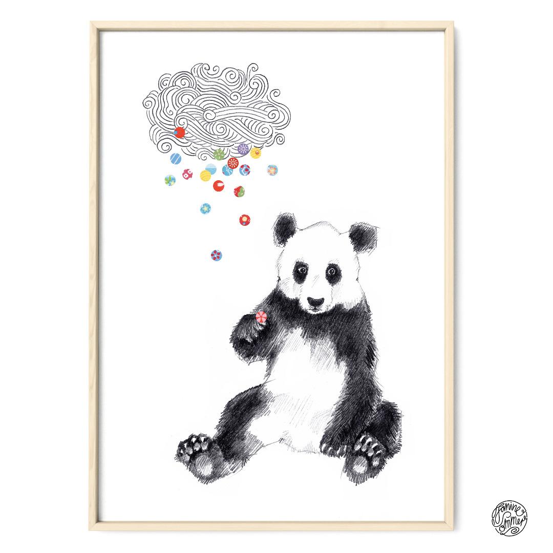 Panda Konfetti Poster Kunstdruck Zeichnung