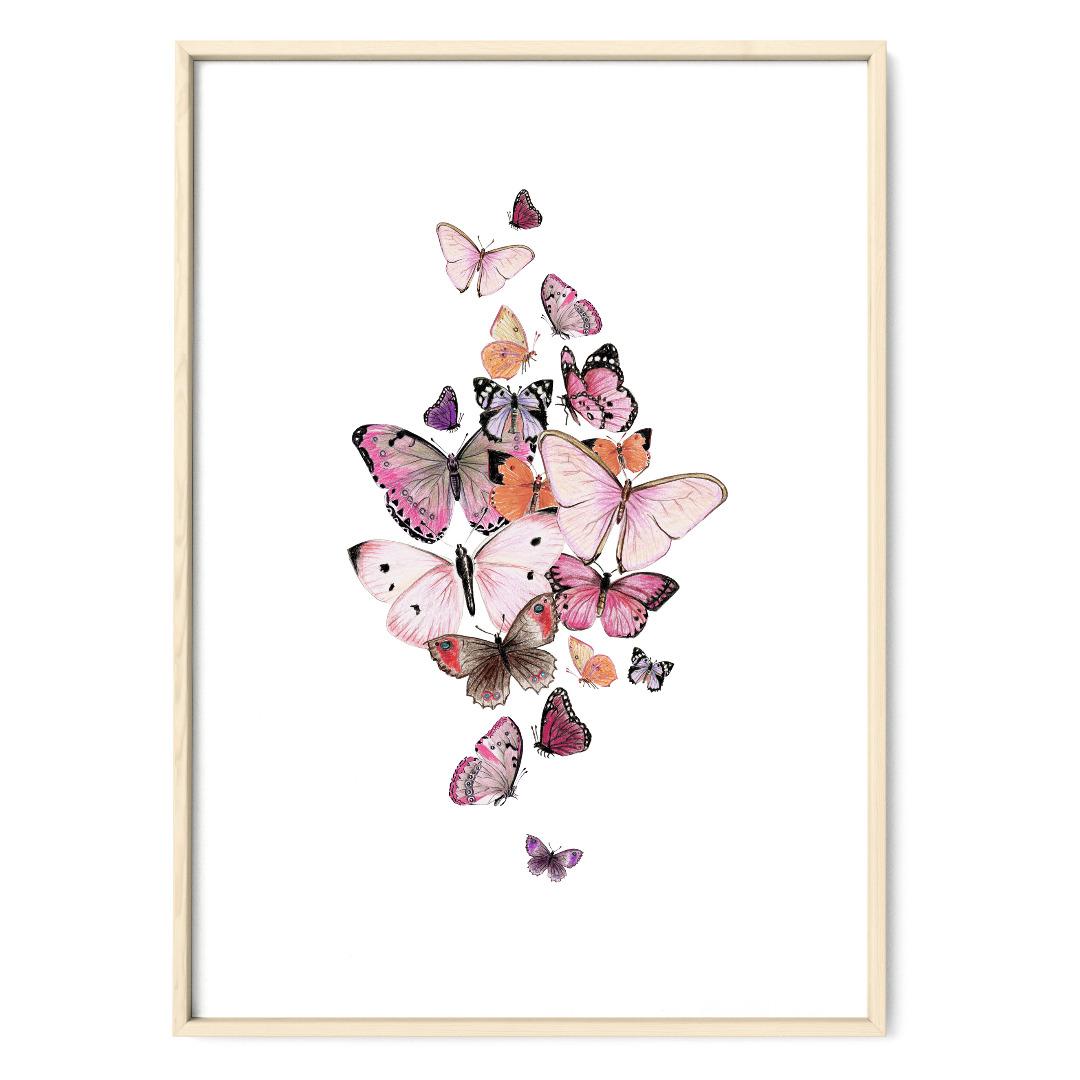 Schmetterlinge rosa Poster Kunstdruck Zeichnung