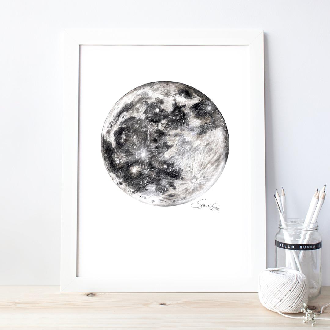 Mond Zeichnung Poster Kunstdruck Zeichnung 2