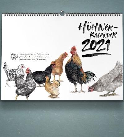 Hühnerkalender Wandkalender Kunstkalender DIN A4 Aquarell-Buntstiftzeichnungen
