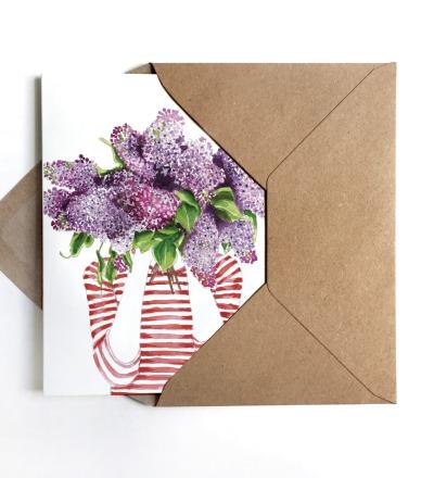 Grußkarte Fliederduft - inkl Umschlag