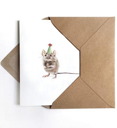 Grußkarte Partymaus Geburtstagskarte - inkl Umschlag