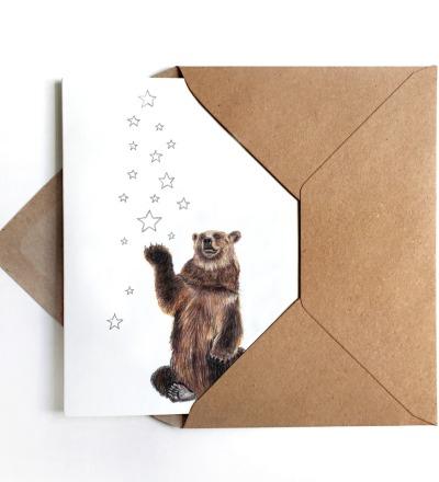 Weihnachtskarte Bär mit Sternen Grußkarte inkl