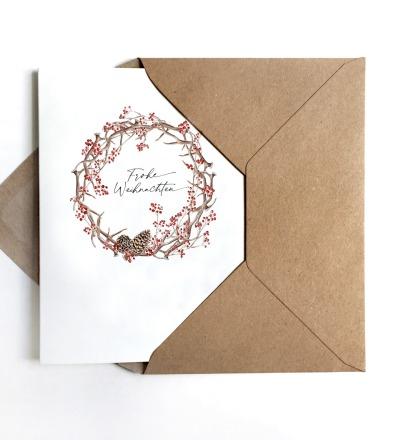 Weihnachtskarte Kranz Grußkarte - inkl Umschlag