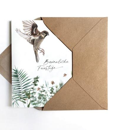 Weihnachtskarte Spatz Grußkarte - inkl Umschlag