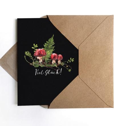 Grußkarte Fliegenpilz Geburtstagskarte Karte Viel Glück