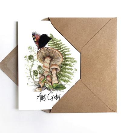 Grußkarte Pilz Alles Gute inkl Umschlag