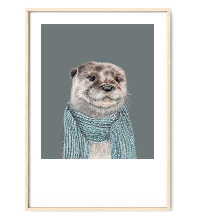 Otter Poster Kunstdruck Zeichnung Aquarell-Buntstiftzeichnung Reproduktion