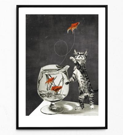 Goldfischglas Poster Kunstdruck DIN A3 Collage