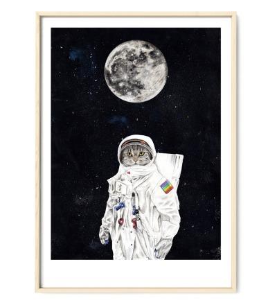 Spacecat Zeichnung Poster Kunstdruck Zeichnung Mischtechnik