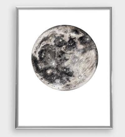 Mond Zeichnung Poster Kunstdruck Zeichnung Buntstiftzeichnung