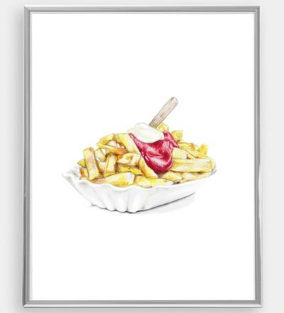 Pommes rot-weiß Poster Kunstdruck Zeichnung Buntstiftzeichnung