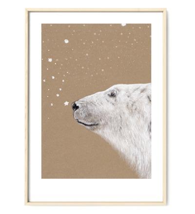 Polarbär Eisbär Poster Kunstdruck Zeichnung Aquarell-Buntstiftzeichnung