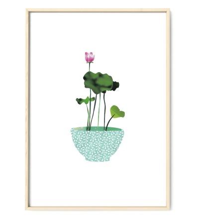Lotus Collage Poster Kunstdruck DIN A3