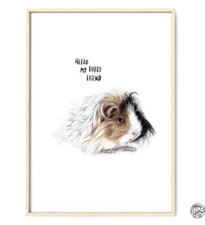 Meerschweinchen Furry Friend Poster Kunstdruck Zeichnung