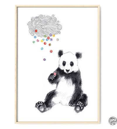 Panda Konfetti Poster Kunstdruck Zeichnung Buntstiftzeichnung