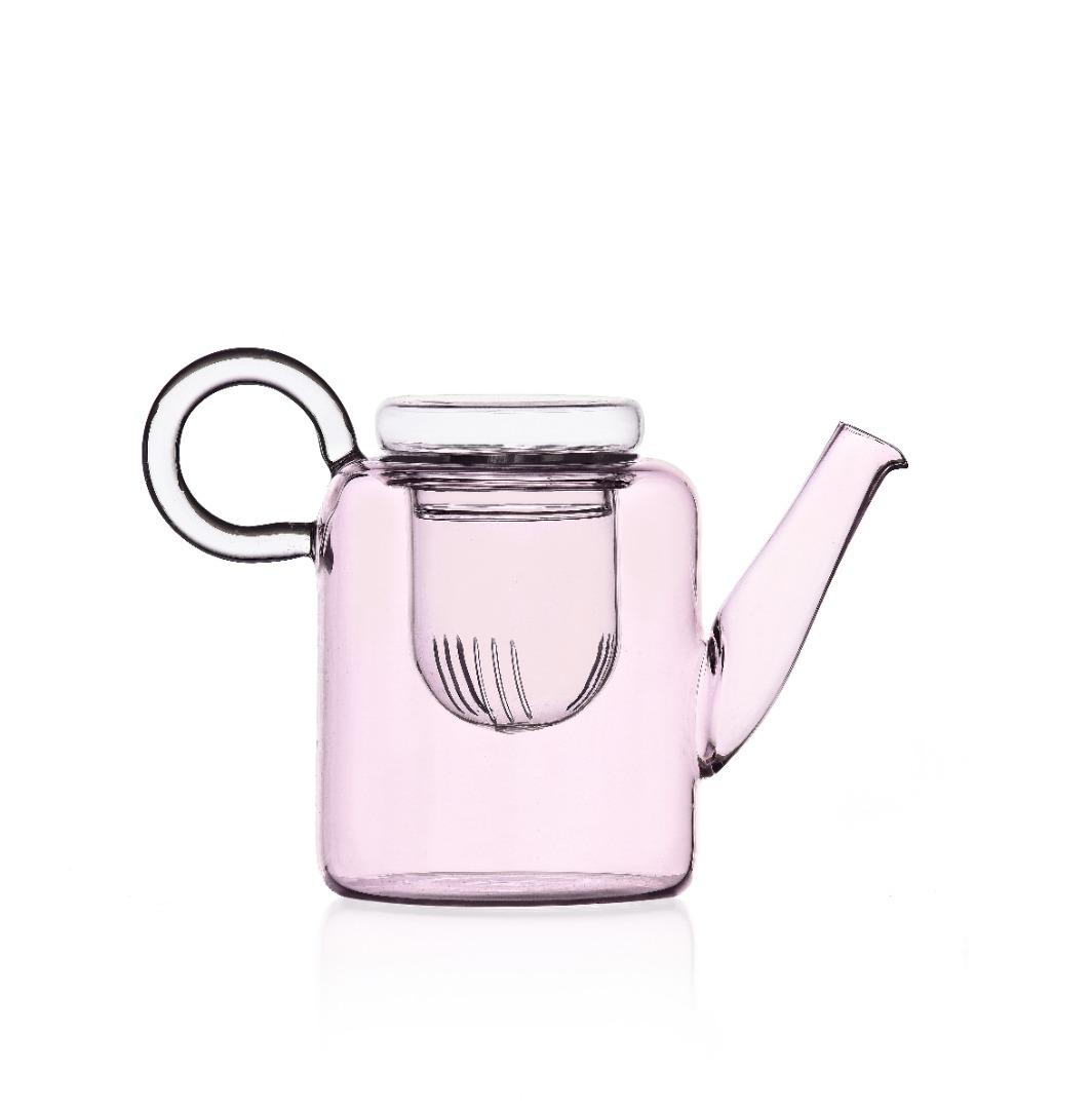 Piuma - Rosafarbene Teekanne mit Filter