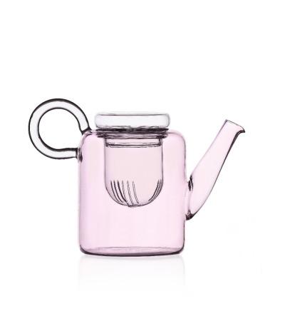 Piuma Rosafarbene Teekanne mit Filter Handgefertigte