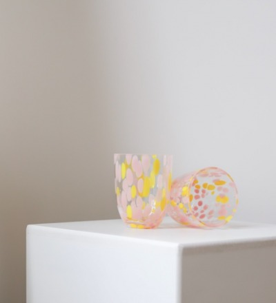 Trinkglas Big Confetti Rosa Gelb Mundgeblasenes
