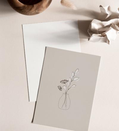 Postkarte Blumenvase Postkarte auf extra dickem