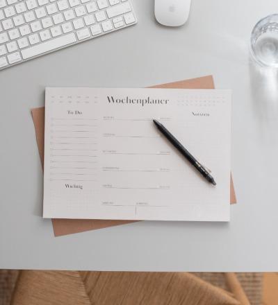 Minimalistischer Wochenplaner Nachhaltig gedruckter Wochenplaner im