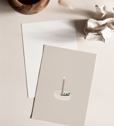 Postkarte Kerzenlicht Postkarte auf extra dickem