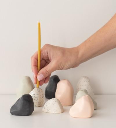 YAMA Kerzenhalter unifarben Handgefertigter Kerzenhalter in