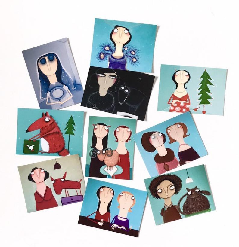 10er Set Kunstpostkarten d