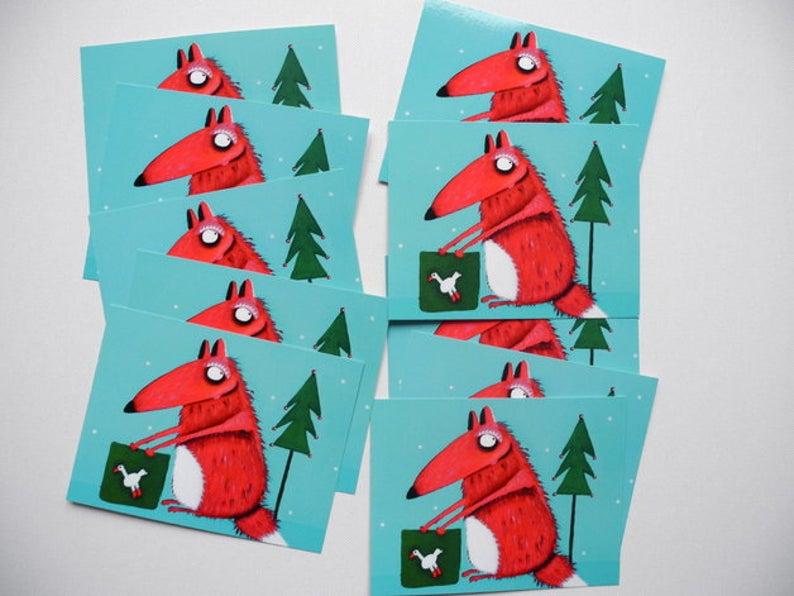 10 Weihnachtskarten mit Carlo dem Fuchs
