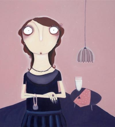 Frau von Cieminski im Rosenzimmer Acryl