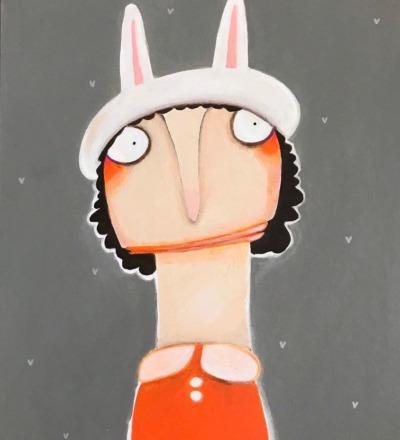Magda Ziegenhain mit Hasenkappe Acryl auf