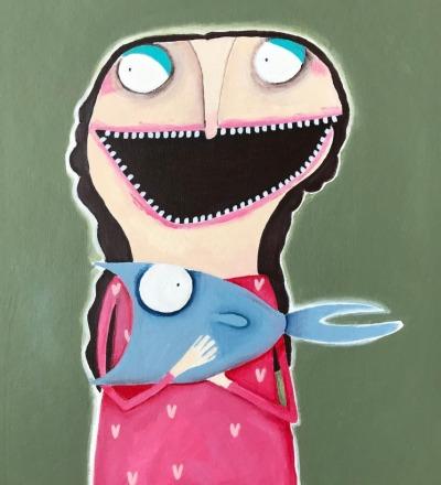 Merle Zobel-Kowalsky mit ihrem Hausfisch Sebastian