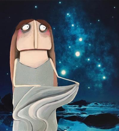 Märchenbild Sterntaler - Acryl auf Leinwanddruck