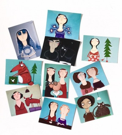 10er Set Kunstpostkarten d - 10
