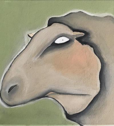 Müdes Schaf - Acryl auf Leinwand