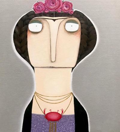 Frida Sternzeichen Krebs Acryl auf Malplatte
