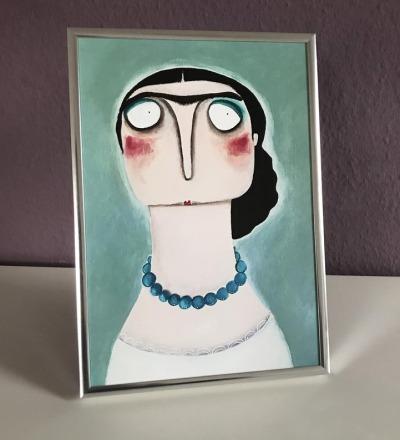 Frida nach Kahlo Kleiner Kunstdruck gerahmt