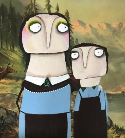 Hänsel und Gretel Acryl auf Kunstdruck