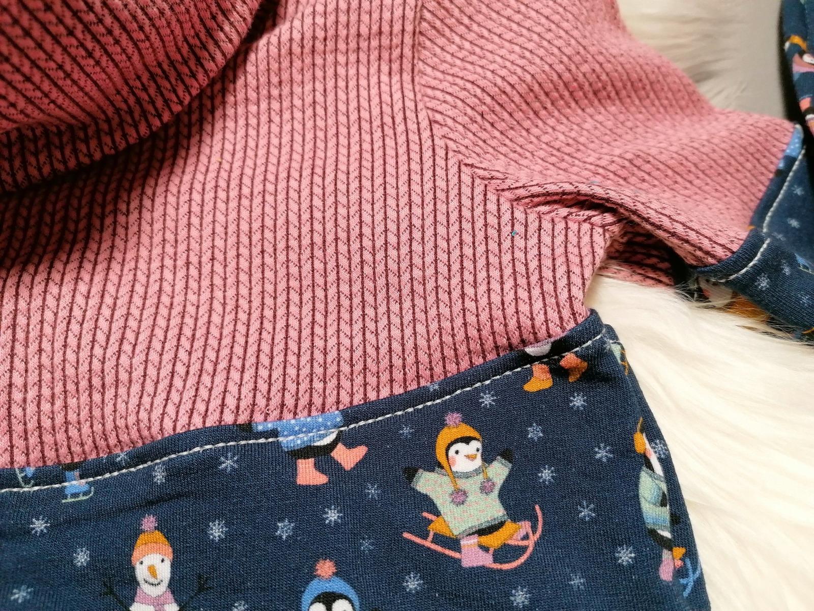 Kuschel-Hoodie Sweat-Pullover mit Kragen Pinguine in
