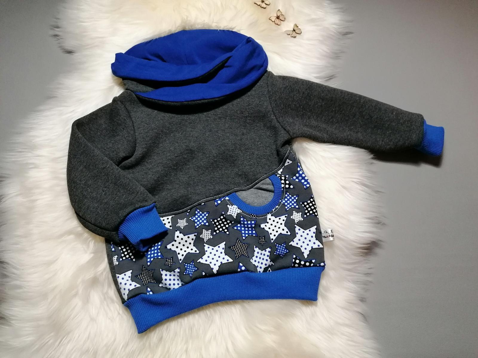 Kuschel-Hoodie Sweat-Pullover mit Tasche und Kragen